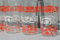 Set of 6 Federal Glass Drinking Glasses/ Retro White and Red Flower Glass