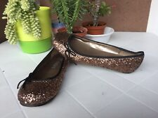 Ballerine con brillantini color bronzo, numero 36