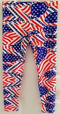 **NEW** LuLaRoe Leggings - OS - Americana Red White Blue Flag Stars - UNICORN!