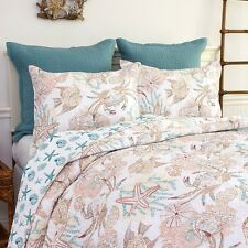 KEY BISCAYNE Full / Queen QUILT SET :  OCEAN FISH CRAB CORAL SHELLS AQUA BEACH