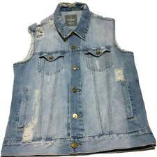 Men's Denim Vest Jacket Standard Cloth Ripped Sleeveless Biker Outwear Sz M Blue