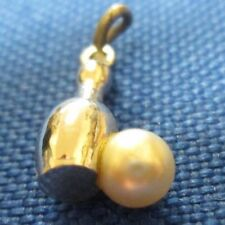 VINTAGE STERLING SILVER BOWLING PIN WITH PEARL BOWLING BALL CHARM