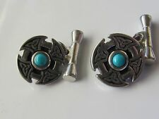 ST JUSTIN CELTIC KNOT PEWTER/TURQUOISE CUFF LINKS  - NEW