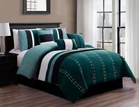 DCP Queen Comforter Set 7 PCS Oversized Strip Bed in Bag Luxury Bedding Set,Teal