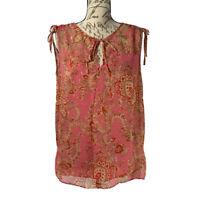 Talbots Blouse NWOT Women's Pink Paisley Sleeveless Top 100% Silk Size Small