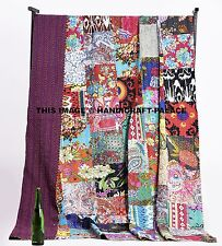 Multicolor Queen Kantha Quilt Indian Patchwork Bedspread Bed Cover Throws Rally