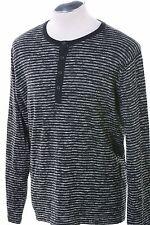 $69 Dkny Jeans Black Striped Henley Top Long Sleeve Sweater  Men's XL