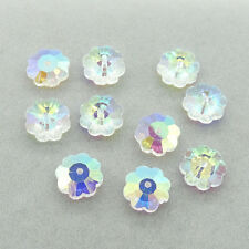 30pcs clear AB crystal glass Plum flower Silver Loose beads 10mm