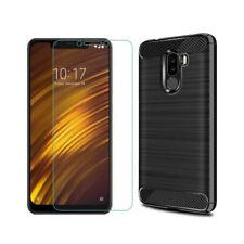 Coque silicone brossé noire + verre trempé transparent pour Xiaomi Pocophone F1