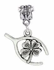 Lucky Wishbone Four 4 Leaf Clover Luck Dangle Charm for European Bead Bracelets