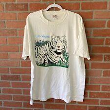 Anvil T-Shirt Men's Size XL White Las Vegas Animal Tee Vtg Snow Tiger