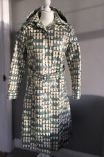 Rare Orla Kiely Teacup Bag Print Trench Raincoat Green Blue Cream Size 3 12 Coat