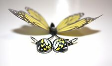 Butterfly Wing Earrings Yellow Glass Cabochon Silver Setting Goth Gothic Unusual