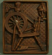 vintage chalkware wall plaque Spinning Wheel