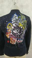 Hand Painted denim jeans jacket size S small nehru collar blazer colorful back