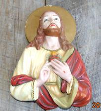 RARE Dino Bencini Porcelain Cast Jesus Senor Plaster Shrine Placque Relief