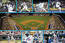 "LOS ANGELES (LA) DODGERS STADIUM AND TEAM POSTER      LARGE 24"" X 36"""