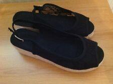 Ladies Size 4 Black fabric/lace sandals NEW.