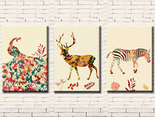 ABSTRACT MODERN ANIMALS SET OF 3 CANVAS PRINTS 50 x 70 (ON FRAME) WALL ART
