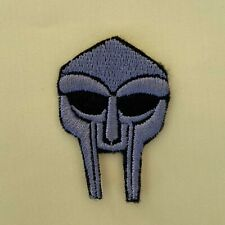 More details for iron on patch - mf doom badge embroidered hip hop rap