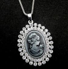 Grey Cameo Crystal Rhinestone Pendant Betsey Johnson Long Necklace