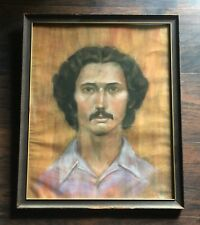 PORTRAIT of UNKNOWN MAN - Vtg 70s Oil Pastel Framed Painting, Mustache, 16x20