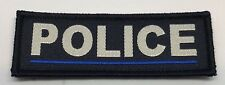 Thin Blue Line Police Dark Blue Woven Patch, Police, Hook Rear, 1 X Patch