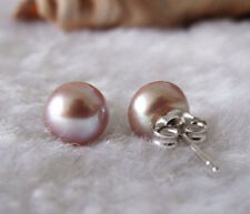 Cultured Freshwater Pearl Earrings 8-9mm solid 925 Silver Ear Stud