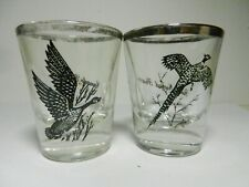 Canada Goose* Ring Necked Pheasant* Silver Rimmed Shot Glasses-Mens Gift-Federal