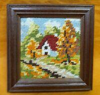 Framed Needlework Cross-stitch House scene Embroidery, Needlecraft  wooden frame