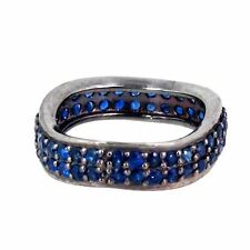 Sapphire Gemstone Pave Band Fashion Ring 925 Sterling Silver Handmade Jewelry PY