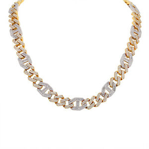 Baguette Icy Mariner Cuban Link 15mm Choker Two Tone Rapper Bling Icy Necklace