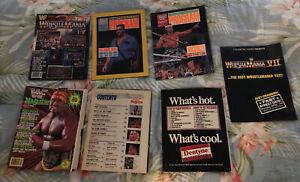LOT WWE WWF VINTAGE WRESTLING MAGAZINES WRESTLE MANIA + 2 PROGRAMS