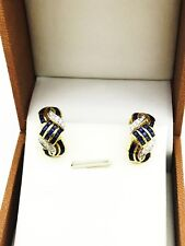 Natural Sapphire & Diamond Earring Yellow Gold 18 Kt. GIA Gemologist Appraisal