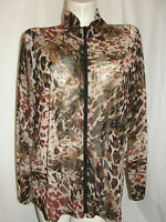 travelers Collection by CHICO'S Top Size XL 3 Animal Print Mesh Zip LS Jacket