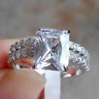 Certified 3.20ct White Radiant Diamond Engagement 14K White Gold Bridal Set Ring
