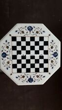"18"" Marble Chess Coffee Corner Top Table Lapis Floral Inlay Art Home Decor H4097"