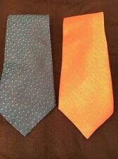2 Polyester Ties One Orange, One Blue Pattern <T10861