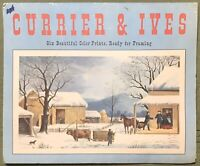 "Currier And Ives 6 Prints In Portfolio Penn Prints NY 12 X 10"" Textured Paper"