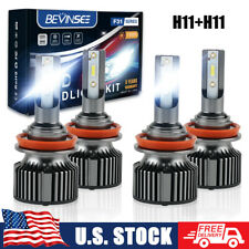 LED Headlights Bulbs Conversion Kit 4x H9 & H11 High Low Beam 6000K 6000LM White