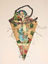 Antique Die Cut Scrap German Paper Cornucopia Candy Container Christmas 1900's