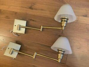 Nessen brass swing arm wall lamps