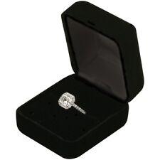 Deluxe Black Velvet Ring Earring Box Proposal Engagement Pocket size High Qlity