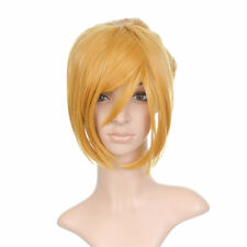 Dark Blonde Styled Short Anime Cosplay Costume Wig with Long Bangs