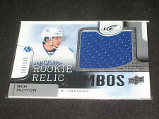BEN HUTTON ROOKIE GENUINE CERTIFIED AUTHENTIC GAME USED HOCKEY JERSEY CARD /299