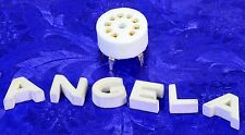 9 Pin Heavy Duty White Ceramic And Gold PC Board Socket For 12AX7, 12AT7 Etc.
