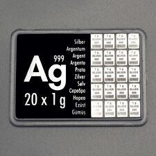 20 x 1 Gramm 999 AG Silber Silbertafel Silberbarren CombiBar ESG Valcambi