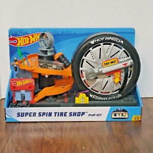 Hot Wheels City Super Spin Tire Shop Play Set HOTWHEELS Track Builder CITY