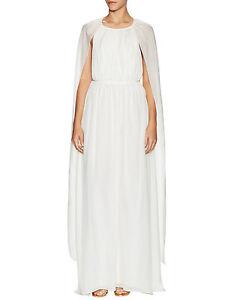 NWT Rachel Zoe Henrietta in Ecru Silk Chiffon Cape Back Grecian Gown 4 $795