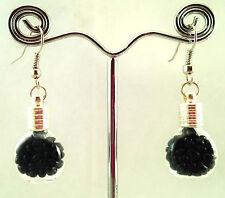 Handmade Glass Bottle Earrings Black Mini Pebble Glass Beads 925 S. Silver Hooks